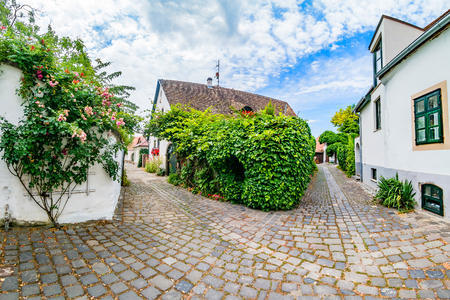 Typical cobbled street of charming little town Szentendre, near Budapest, Hungary.