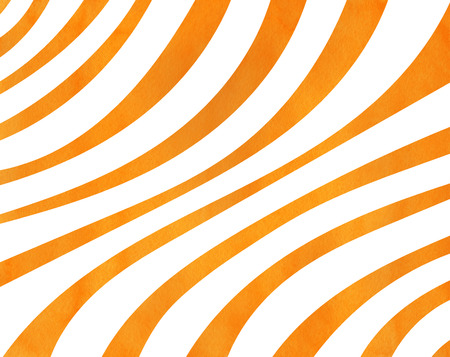 Watercolor orange striped background. Curved line pattern. Stock Photo