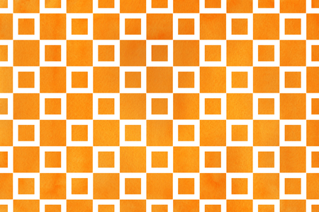 Watercolor orange square pattern. Geometrical traditional ornament for fashion textile, cloth, backgrounds.