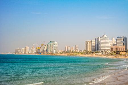 TEL AVIV ISRAEL November 2016: Tel Aviv view of Mediterranean sea and skyscrapers.