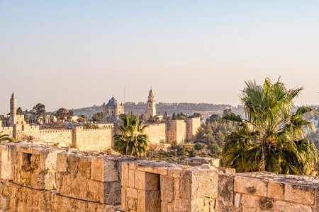 View of the Dormition Abbey from the wall of the Old City of Jerusalem, Israel.