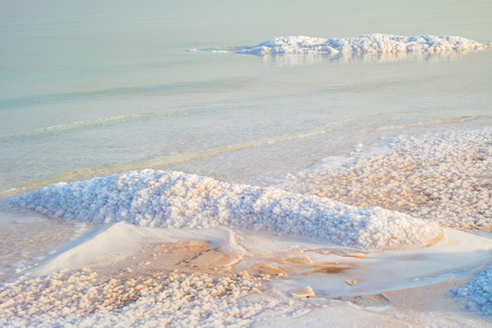 Salty coast of the Dead Sea, Israel. Foto de archivo - 95561856