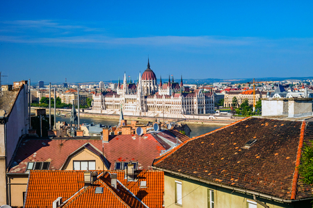 Building of Hungarian Parliament in Budapest, Hungary.