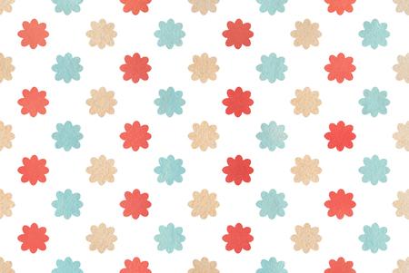 Reticolo di fiore rosso, blu e beige dell'acquerello. Fiori dell'acquerello su fondo bianco. Archivio Fotografico