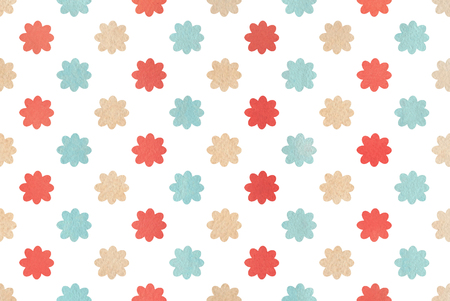 Watercolor red, blue and beige flower pattern. Watercolor flowers on white background. Stock Photo