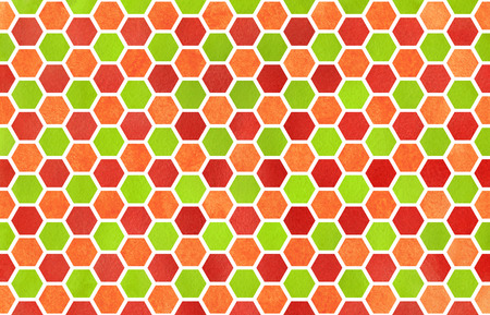 Watercolor Red Green And Orange Geometrical Comb Pattern Hexagonal