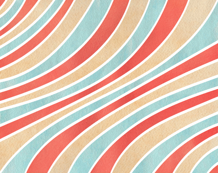 Watercolor red, blue and beige striped background. Curved line pattern.