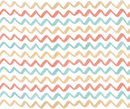 Watercolor blue, beige and pink hand painted stripes pattern, chevron.