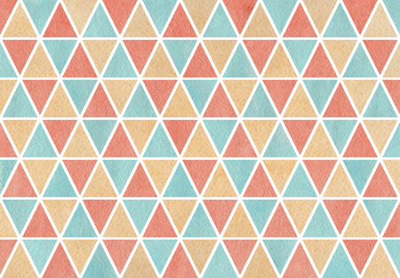 Watercolor blue, beige and pink triangle pattern.