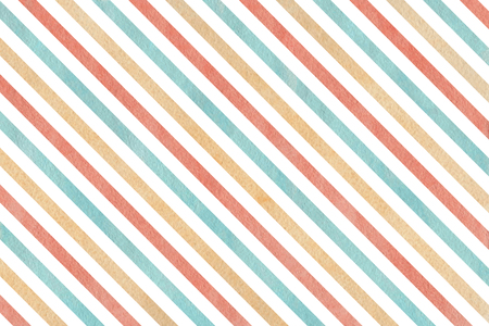 Watercolor blue, beige and pink striped background. Stock Photo