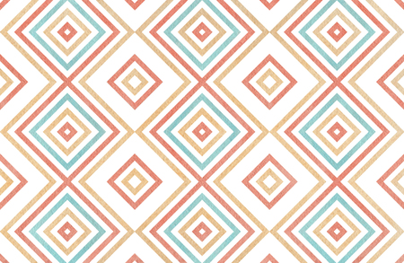 Watercolor geometrical pattern in blue, beige and pink color. For fashion textile, cloth, backgrounds. Stock Photo