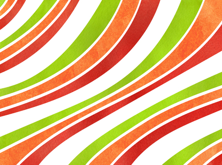 Watercolor red, green and orange striped background. Curved line pattern. Stock Photo
