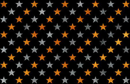 Golden and silver painted stars pattern. Golden and silver shining texture. 스톡 콘텐츠