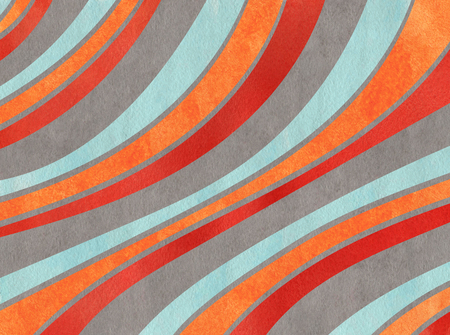 Watercolor orange, blue, red and gray striped background. Curved line pattern. Stock Photo