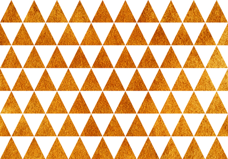 Golden painted triangle pattern. Golden shining texture. Gold paint Stockfoto