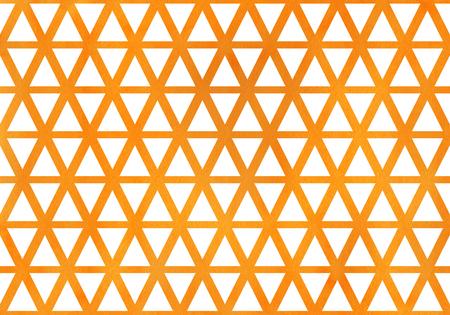 Watercolor orange triangle pattern. Watercolor geometric pattern.