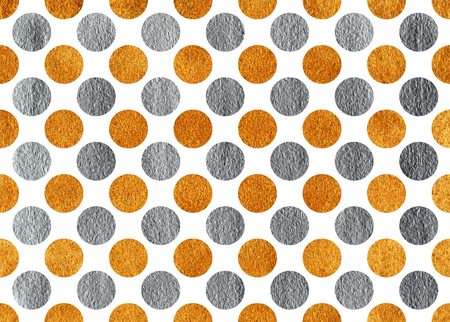 Golden and silver painted polka dot background. Pattern with dots for scrapbooks, wedding, party or baby shower invitations. 스톡 콘텐츠