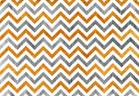 Golden and silver painted stripes background, chevron. Golden and silver shining texture.
