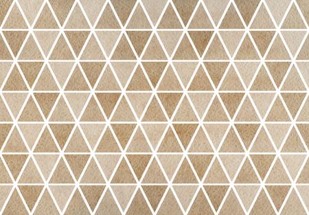 Watercolor khaki triangle pattern. Watercolor geometric pattern. Stock Photo