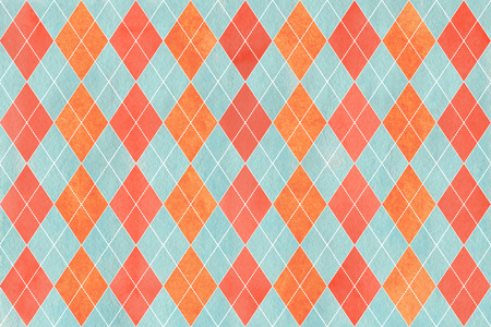 Watercolor salmon red, blue and carrot orange diamond pattern. Geometrical traditional ornament for fashion textile, cloth, backgrounds.