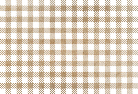 Watercolor khaki checked pattern. Geometrical traditional ornament for fashion textile, cloth, backgrounds. Stock Photo