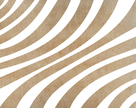 Watercolor khaki striped background. Curved line pattern.