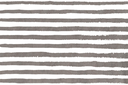 Watercolor gray brush strokes on white background. Hand drawn grunge stripes pattern for fabric print, textile design, fashion. Banque d'images