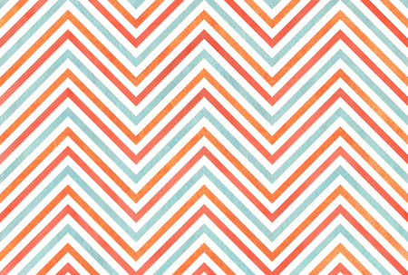 Watercolor salmon red, blue and carrot orange stripes background, chevron.