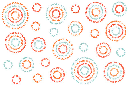 Watercolor salmon red, blue and carrot orange abstract circles on white background. Stock Photo