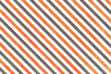 Watercolor orange and grey striped background. Abstract watercolor background with orange and grey stripes.