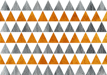 Golden and silver painted triangle pattern. Golden and silver shining texture.