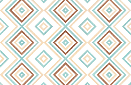Watercolor geometrical pattern in blue, beige and brown color. For fashion textile, cloth, backgrounds. Banco de Imagens