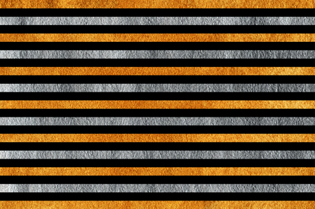 Golden and silver painted striped background. Golden and silver shining texture. Banco de Imagens