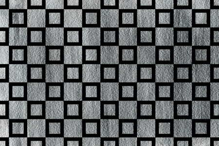 Silver painted square pattern. Geometrical traditional ornament for fashion textile, cloth, backgrounds.