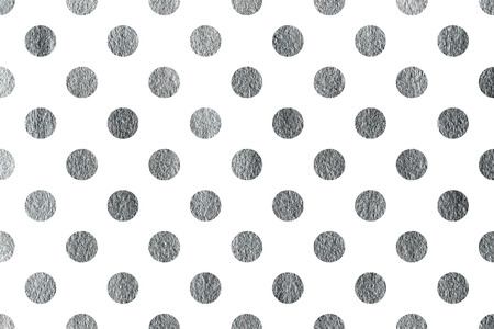 Silver painted polka dot background. Pattern with dots for scrapbooks, wedding, party or baby shower invitations. Banco de Imagens