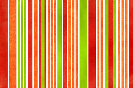 Watercolor red, green and orange striped background. Banco de Imagens
