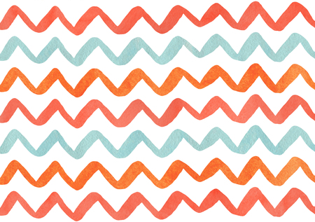 Watercolor salmon red, blue and carrot orange hand painted stripes pattern, chevron.