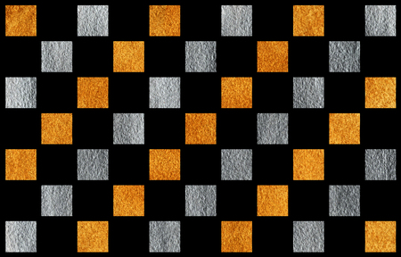 Golden and silver painted square pattern. Geometrical traditional ornament for fashion textile, cloth, backgrounds.