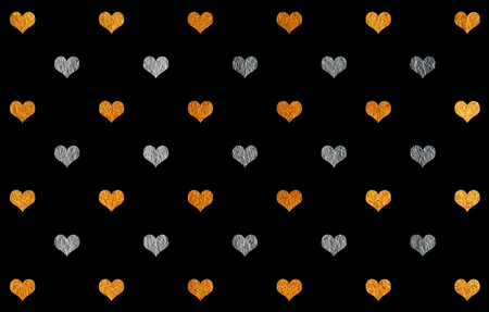 Golden and silver painted hearts pattern. Golden and silver shining texture. Banco de Imagens