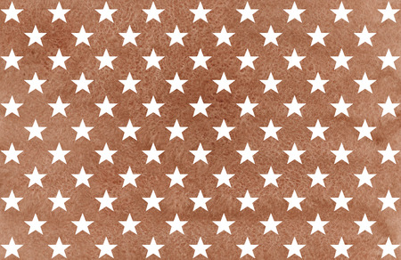 Watercolor pattern with white stars on brown background.
