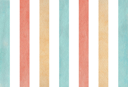 Watercolor blue, beige and pink striped background. Banco de Imagens