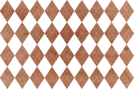 Watercolor brown diamond pattern. Geometrical traditional ornament for fashion textile, cloth, backgrounds. Banco de Imagens