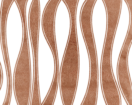 Watercolor brown striped background. Curved line pattern.