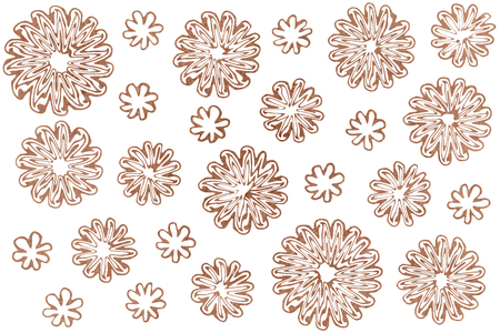 Watercolor brown abstract flowers on white background.