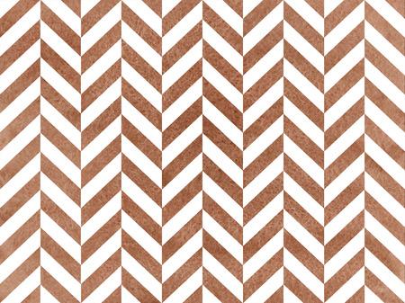 Watercolor brown stripes background, chevron. Watercolor geometric pattern