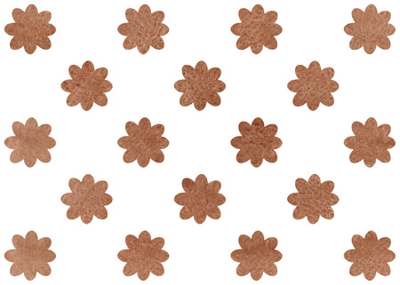 Watercolor brown flower pattern. Watercolor flowers on white background.