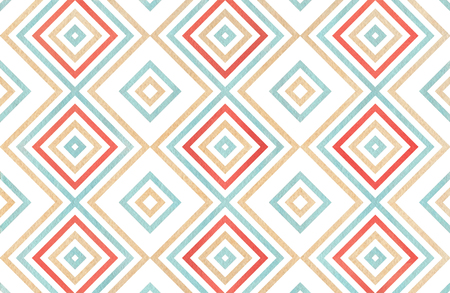 Watercolor geometrical pattern in red, blue and beige color. For fashion textile, cloth, backgrounds. Banco de Imagens