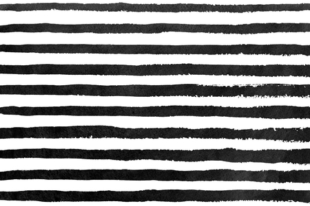 Watercolor black brush strokes on white background. Hand drawn grunge stripes pattern for fabric print, textile design, fashion.