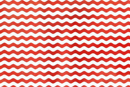 Abstract watercolor red wavy striped background. Wavy, striped pattern.