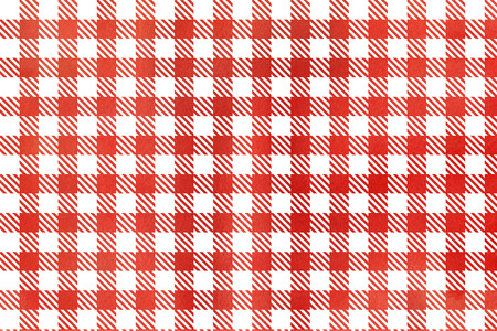 Classic checked red watercolor texture. Watercolor red checked background.